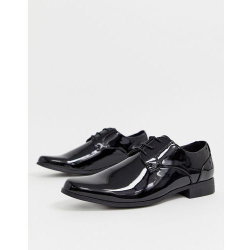 New look patent lace up shoe in black - black