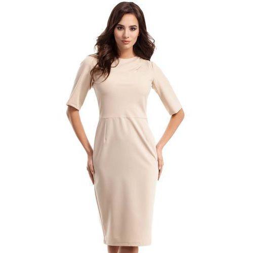 Beżowa Sukienka Elegancka Ołówkowa z Ozdobnym Marszczeniem, kolor beżowy