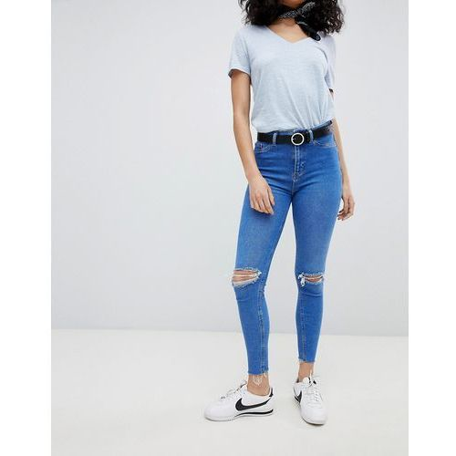 hallie disco high rise ripped jeans - blue marki New look