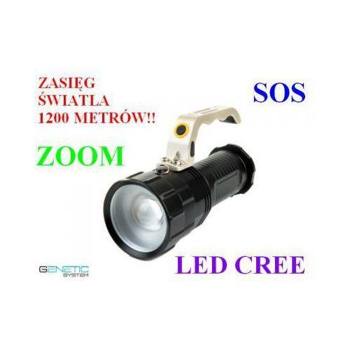 Profesjonalna akumulatorowa policyjna latarka szperacz (zasięg 1200m.!!) led cree + zoom + sos... marki Genetic system