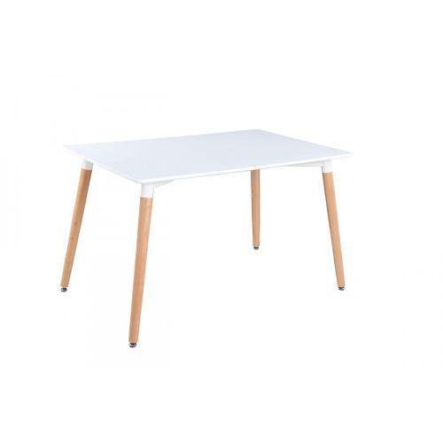 Nowoczesny stół lakierowany NOLAN biały/buk 120x80