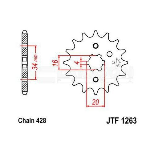 Zębatka przednia JT F1263-16, 16Z, rozmiar 428 2201305 Yamaha DT 175