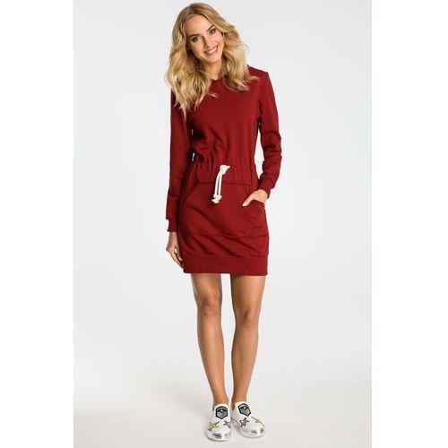 Bordowa Sukienka Sportowa Mini z Kapturem, sportowa