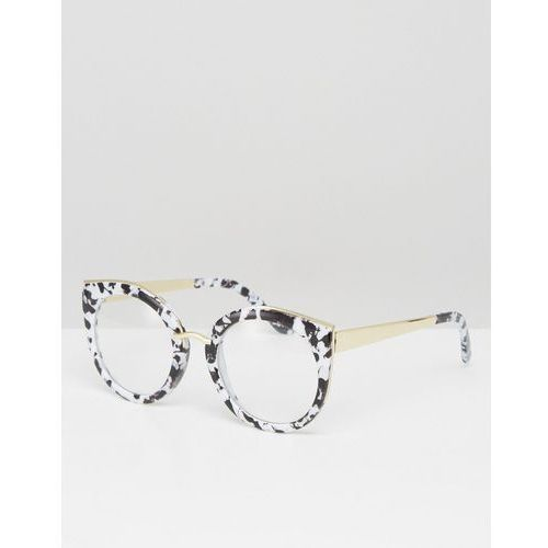 ASOS Geeky Kitten Glasses With Clear Lens And Mono Marble Acetate Finish - Black - sprawdź w wybranym sklepie