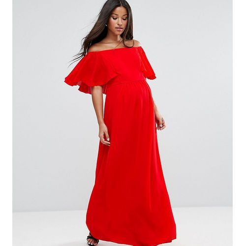 maternity off shoulder ruffle maxi dress - red, Queen bee