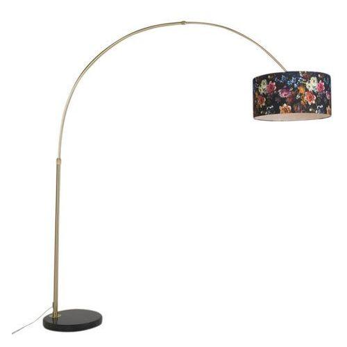 Klasyczna lampa podlogowa luk matowy mosiadz z kloszem w kwiaty - marbello marki Qazqa