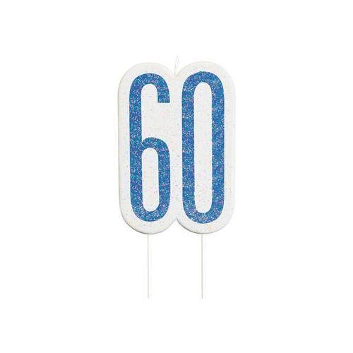Brokatowa niebieska świeczka na 60-tke - 1 szt.