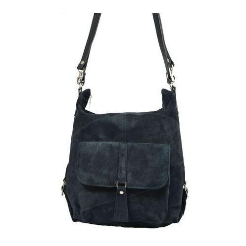 Shopper bag zamszowy 2w1 granatowy