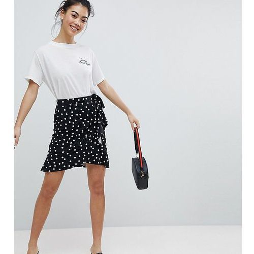 Asos petite mini wrap skirt in polka dot print - black
