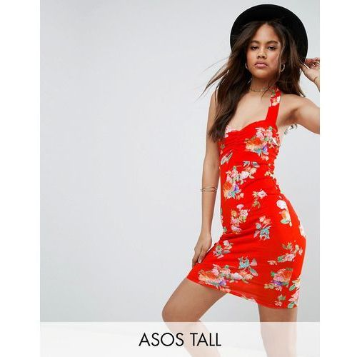 Asos tall  halter neck mini dress with ruched bodice in red floral - red