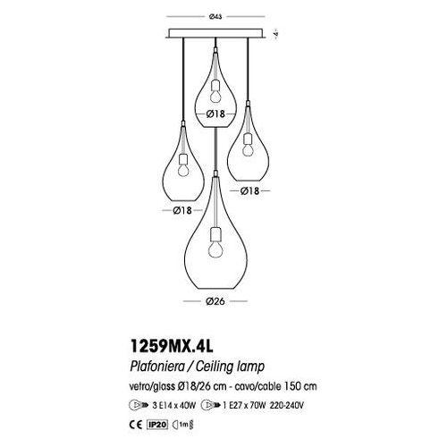 Cangini & Tucci Plafon Lacrima (szkło gładkie) - 1259MX.4L