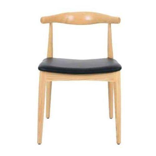 Krzesło drewniane ELBOW naturalne - drewno jesion, ekoskóra czarna, kolor czarny