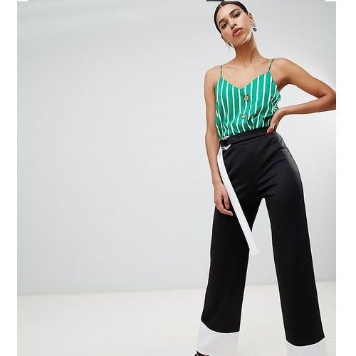 Boohoo Contrast Trouser With Tie - Black