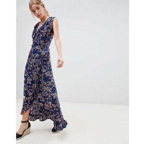 QED London Floral Print Wrap Maxi Dress With Frill - Navy, kolor niebieski
