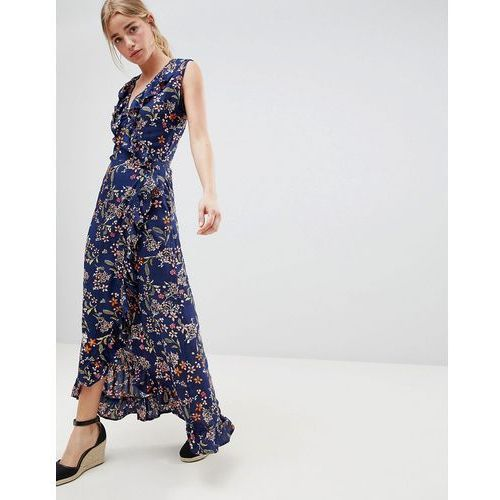 Qed london floral print wrap maxi dress with frill - navy