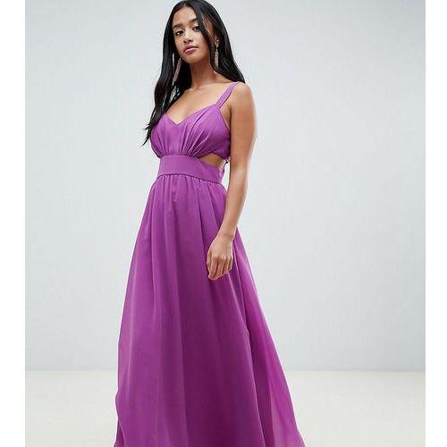 Asos design petite side cut out maxi dress with cami straps - purple, Asos petite
