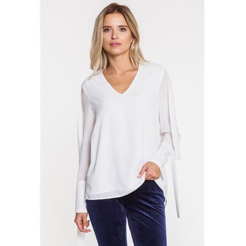 Zwiewna biała bluzka z dekoltem w v - marki Anataka