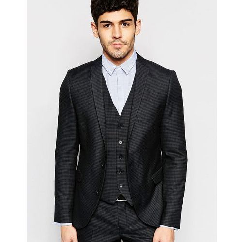 Selected homme skinny check suit jacket with stretch - black