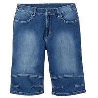 """Bermudy dżinsowe ze stretchem ze specjalnym krojem pasa bonprix niebieski """"used, bawełna"""