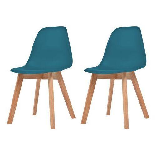 Krzesła do jadalni, 2 sztuki, turkusowe, kolor niebieski