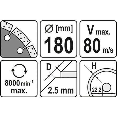Yato Tarcza diamentowa, segmentowa 180 mm yt-6004 - zyskaj rabat 30 zł (5906083960048)