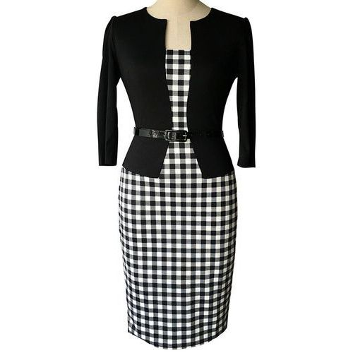 Black Blazer and Belted Checked Print Faux Twinset Bodycon Dress