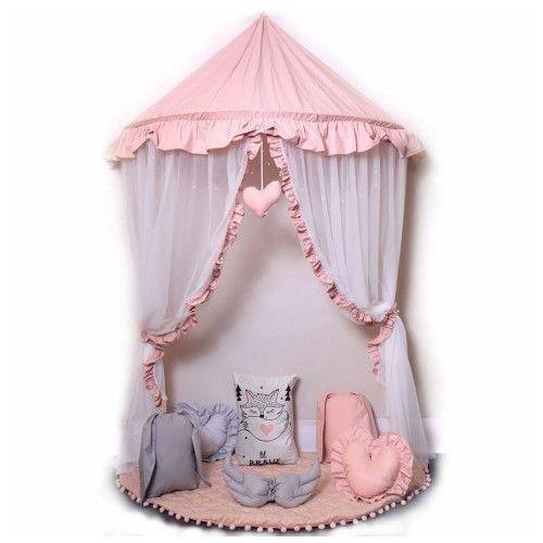 Producent: elior Różowo-biały baldachim dla dziecka z 6 poduszkami i matą - sentopia 4x