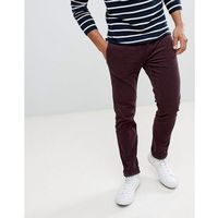 River island skinny cord trousers in burgundy - red