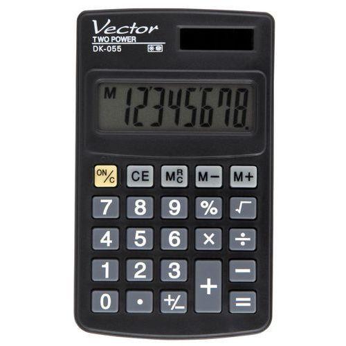 Kalkulator kieszonkowy, 8-pozycyjny wyświetlacz, podwójne zasilanie, pamięć, gumowe przyciski, plastikowa obudowa. wymiary:102x61x8mm. marki Vector