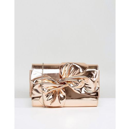 Chi chi london tie up bow clutch bag - gold