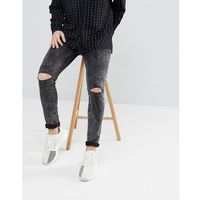 super skinny jeans in black with knee rips - black, Mennace