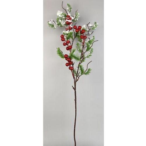 Dekoracyjna zaśnieżona gałązka owoce jagodowe, 60 cm