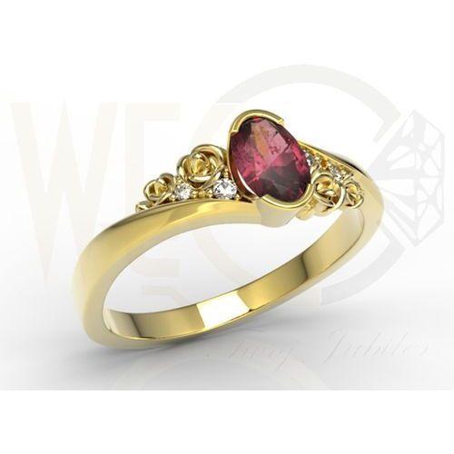 Pierścionek z żółtego złota ap-39z z rubinem i diamentami 0,03 ct - żółte \ rubin marki Węc - twój jubiler