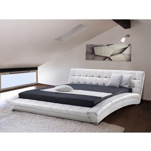 Nowoczesne skórzane łóżko 180x200 cm - LILLE białe (7081457569701)
