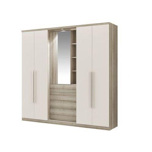 Vente-unique Szafa isak - 4 drzwi - lustro i szuflady - dł.240 cm - kolor: dąb i kość słoniowa