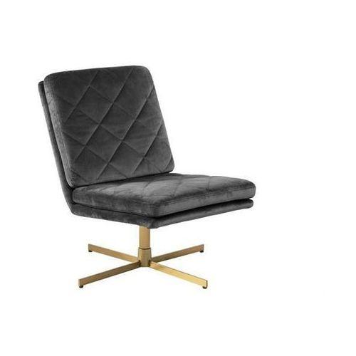 ACTONA fotel obrotowy CARRERA ciemny szary - welur, złota podstawa - Ciemny szary, kolor szary