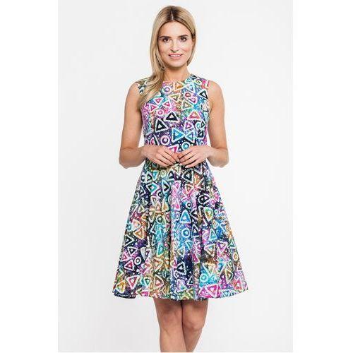 Rozkloszowana sukienka w kolorowe wzory - Jelonek, kolor wielokolorowy