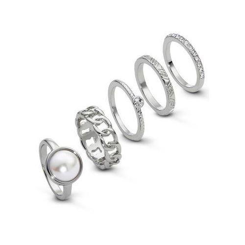Komplet pierścionków (5 części) bonprix srebrny kolor