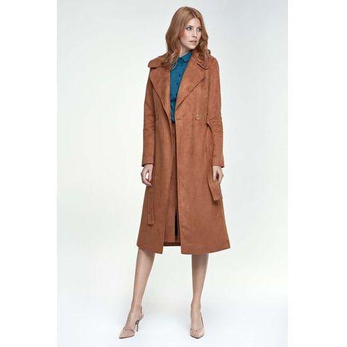 Karmelowy Płaszcz Długi Klasyczny z Paskiem, kolor brązowy