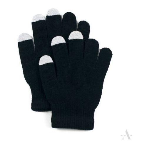 Czarne elastyczne rękawiczki damskie do ekranów dotykowych - czarny marki Evangarda