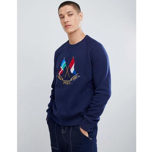 Polo Ralph Lauren Bring It Back 50 Year Flag Embroidery Crewneck Sweatshirt in Navy - Navy, kolor szary
