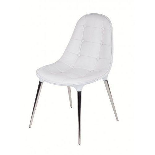 Krzesło passion ekoskóra całe białe - włókno szklane, nogi chromowane marki King home