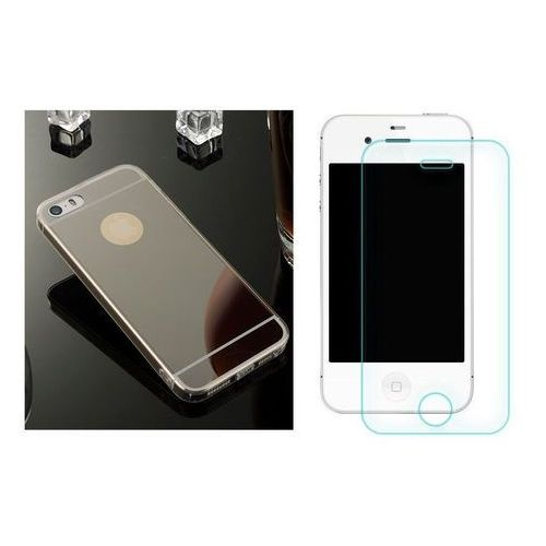 Zestaw | Slim Mirror Case Czarny + Szkło ochronne Perfect Glass | Etui dla Apple iPhone 4 / 4S