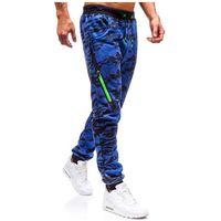 J.style Spodnie męskie dresowe joggery moro-niebieskie denley 55025