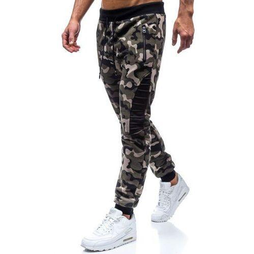 Spodnie męskie dresowe joggery moro-khaki denley 80598, Red fireball