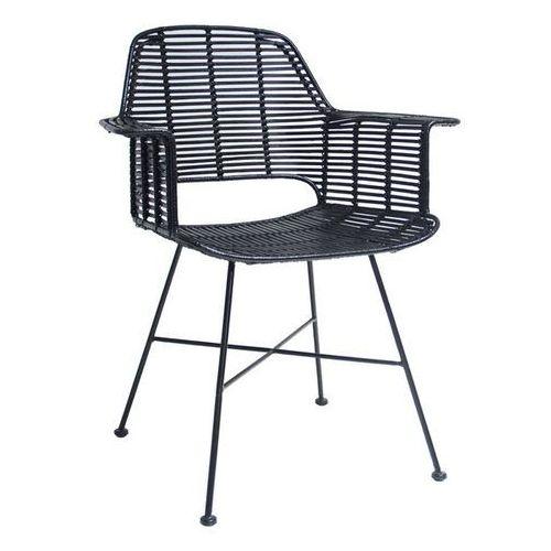 Krzesło rattanowe ze stelażem czarne - marki Hk living