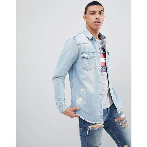 Pull&Bear Rip And Repair Regular Fit Denim Shirt In Light Blue - Blue, 1 rozmiar