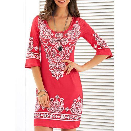 Scoop Neck Mini Printed Dress