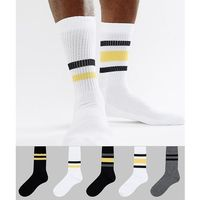 sports style socks in monochrome with yellow stripes 5 pack - multi, Asos design