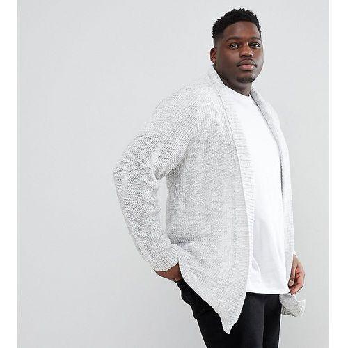 big & tall cable knit cardigan in light grey marl - grey, River island